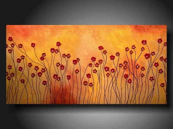 Art original Abstract painting  Huge JMJARTSTUDIO Original PAINTING 18 X 36 Inches--Highly Textured----- Stand tall---Poppies-----