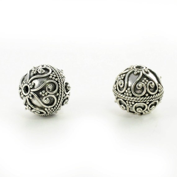1pc. 12x12mm. Bali Large Oxidized Sterling Silver Bead