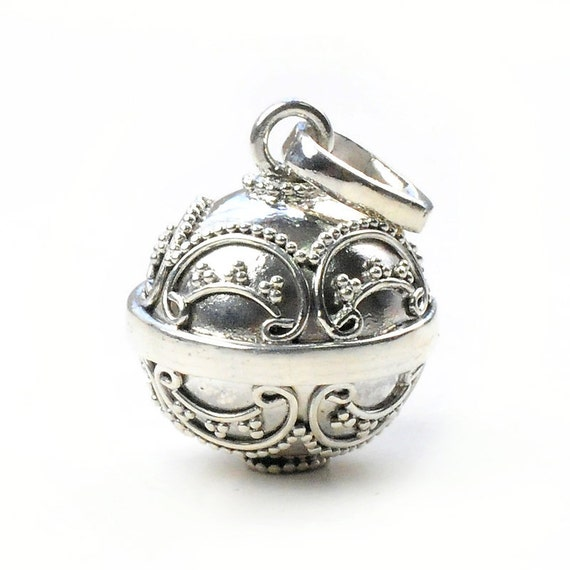 17x14 mm. Bali Sterling Silver Harmony Ball