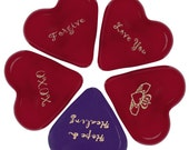 5 Whimsical All Occasion Glass Heart Assortment Gold Ink Imprinted Your Choice