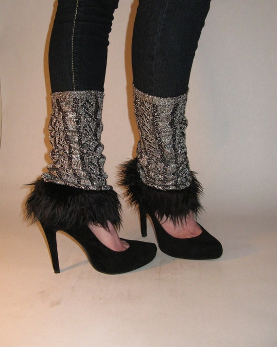Silver Struck - Eco Friendly/Upcycled - Leg Warmers -OOAK - KimKat Bags - Ready to Ship
