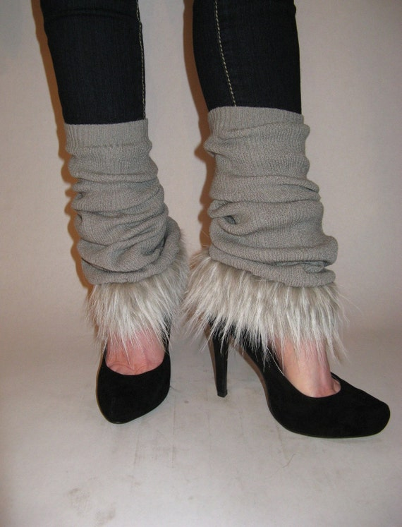 Wolf in Sheep's Clothing - Eco Friendly/Upcycled  - Knit / Faux Fur Leg Warmers - Great Gift Under 30 For That Fashionista On Your List - OOAK - Ready To Ship
