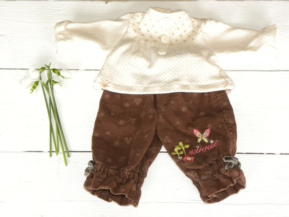 Embroidered Brown Corduroy Pants and Polka Dot Cream Top - 14 - 15 inch doll clothes