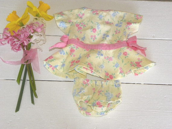 Yellow Flower Garden Dress and Matching Panties - 14 - 15 inch doll clothes