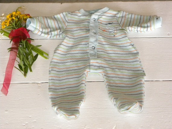 Aqua Striped Footed Sleepers - 14 - 15 inch boy doll clothes