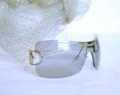 Vintage 80's GMV italian sunglasses or eyeglasses ligth grey man or woman brand GianMarco Venturi made in Italy