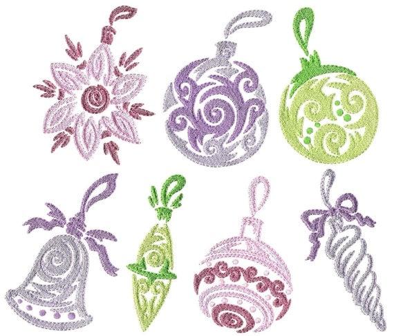 Christmas ornaments machine embroidery by xxxstitchvillexxx