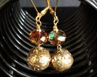 Vintage Sequin and Swarovski Crystal Earrings - Topaz