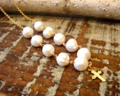 14k Gold Fill and Fresh Water Pearl Bead and Cross Necklace