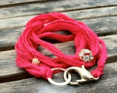 Hot Pink Silk Wrap Bracelet