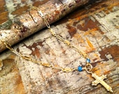 Dainty Ornate Gold and Turquoise Cross Bracelet