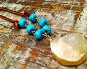 Lemon Druzy Agate With Leather and Turquoise Necklace