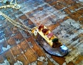 Clear Drop Crystal with Colored Stones Pendant Necklace