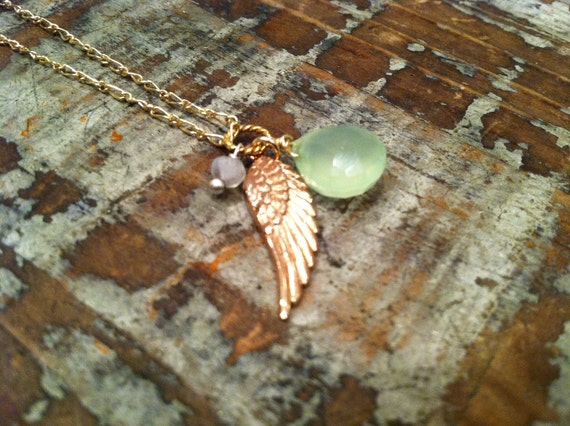 Rose Gold Angel Wing With Green and White Chalcedony Gemstone Charms