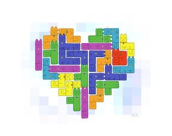 "Digital Print 81/2 x 11 - ""Catris Heart"""