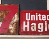 Rusty Reds. Great Pair of Vintage Signs in Red & Rust.
