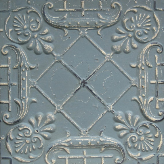 2'x2' Antique Ceiling Tile Circa 1910. BLUE.  FRAMED Ready to Hang. Great for magnet board or wall decor