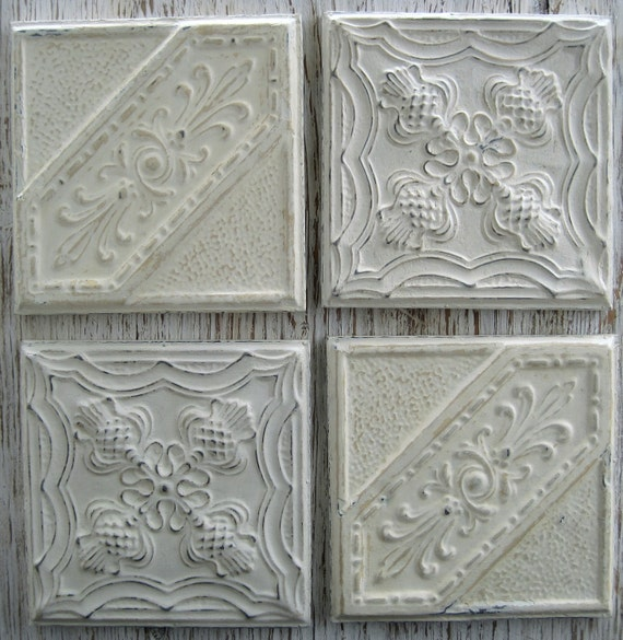 "ALL 4 Framed Antique Ceiling Tin Tiles circa 1900. Each tile is 11 1/2"" Square. Whites & Off Whites."