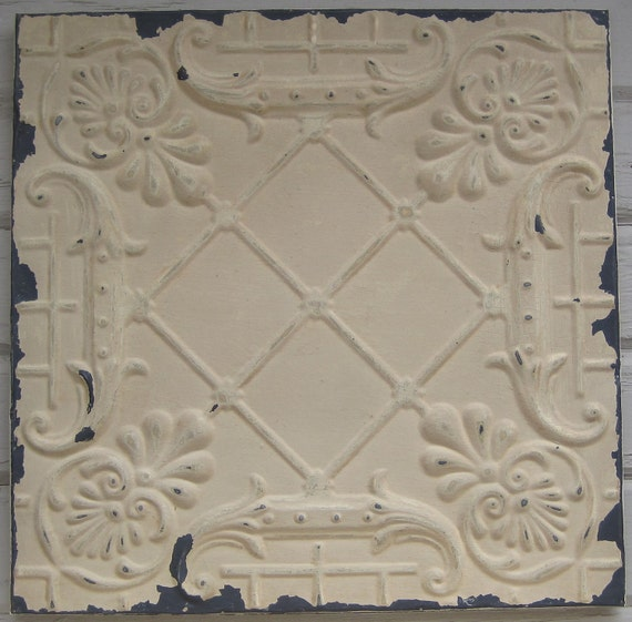 2'x2' Antique Ceiling Tile Circa 1910 Original Paint FRAMED Ready to Hang. Great for magnet board or wall decor