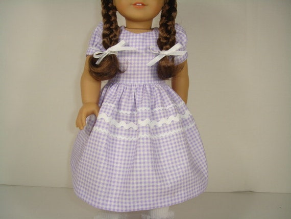 18 Inch Doll Clothes American Girl - Lavender and White Check Dress
