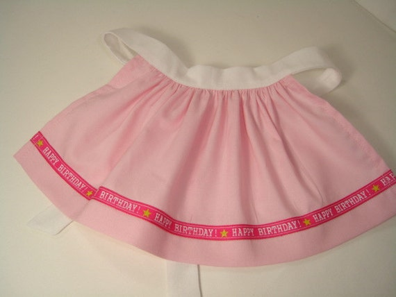Happy Birthday Ribbon on a  Pink and White Apron for American Girl Doll,  White Waist Band and Ties