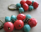 RESERVED for Kate- Firepolished Coral Red and Turquoise Beaded Earrings