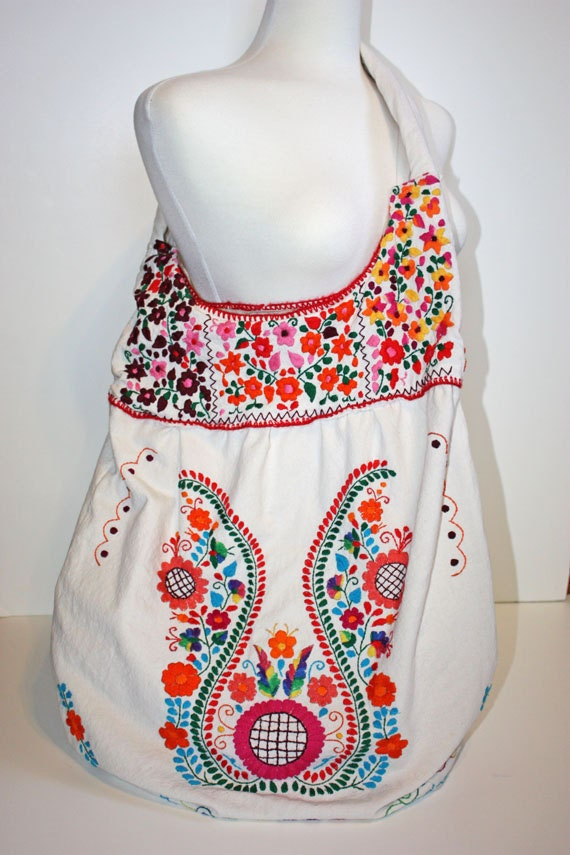Huge vintage oaxaca market mexican boho embroidered tote hand