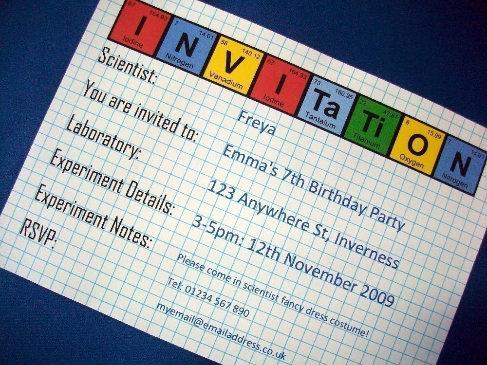 periodic table science party invitation and by sizzlingscience, Party invitations