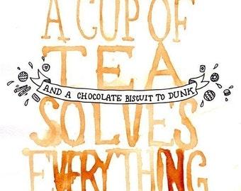 A Cup of Tea Solves Everything - Giclee Print / Tea Print - Tea Art - Watercolour