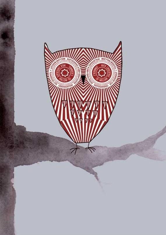 Teacake Owl - Original Digital Print