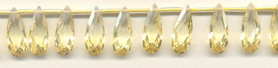 Cubic Zirconia light yellow faceted flat pears 7x18mm, 1 strand, 15 beads C-1729 Reserved for Lani