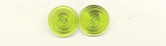 Tom's lampwork transparent medium grass green 2 disc spacer/drop, 1 pair 0414