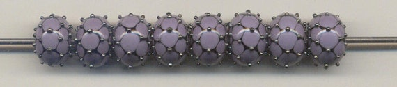 Tom's lampwork lavender dotted lace 2 bead set, 1 pair 0388