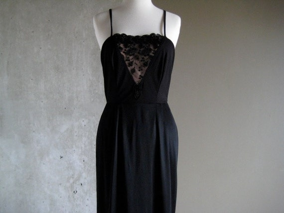 70s VINTAGE Frank Usher slip dress black and nude sequins embroidered floral design excellent condition small