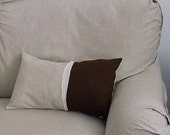 Linen Pillow Cover with Natural  Linen Chocolate Linen and Muslin Fabric and Decorative Stitching