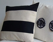 Pillow Cover Natural Linen Sewn with Black Twill to create Awning Stripe