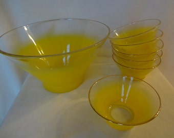 Yellow Retro Serving Bowl and Set of Six Matching Bowls