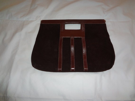 Brown Suede Clutch with Leather Trim