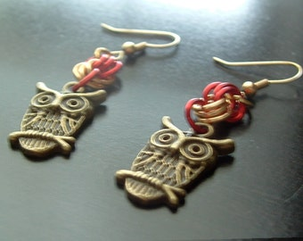 Red and Gold Owl Charm Earrings