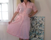 SALE 1950s bubblegum pink plaid checked shirtwaist dress with pocket detail on bust and skirt, and silver lurex (M - L)