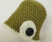 12-24 Month Olive Green and White Baby Button Beanie