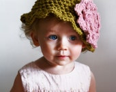 12-24 Month Olive Green with Pink Flower Baby Beanie