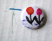 SALE - - - Little One-Of-A-Kind Flower Pinback Button of Two Flowers