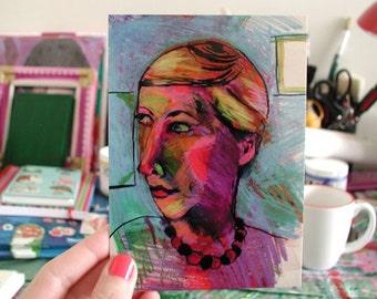 POSTCARD - Self Portrait, artwork by Rina Miriam Drescher snail mail that is also a fine art print