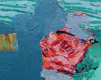 Original Acrylic Painting Of A Pink Rose With Blue And Aqua from the series Dear Gertrude Stein by Rina Miriam Drescher