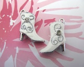 3D Enameled White High Heel Boot Charms with Rhinestones - 2pcs High Quality