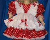 OOAK Custom Made Red with White Polka Dots Double Ruffle Dress