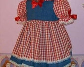 CUSTOM MADE LOOK LIKE DENIM AND RED GINGHAM CUSTOM DOUBLE SKIRT DRESS