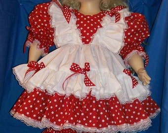 OOAK Custom Made Red with White Polka Dots Double Ruffle Dress
