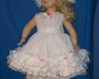 Boutique Custom Made OOAK White Triple Ruffle Pink Rose Dress Set in a Variety of Colors